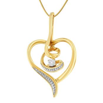 Trang sức Espira Vàng 10K 1/25ct TDW round-cut Kim cương Swirl Heart Pendant Dây chuyền (vòng cổ
