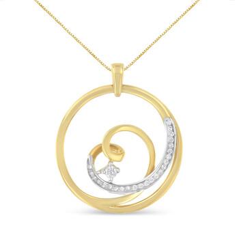 Trang sức Espira Vàng 10K 1/6ct TDW Kim cương Heart Circle Pendant Dây chuyền (vòng cổ
