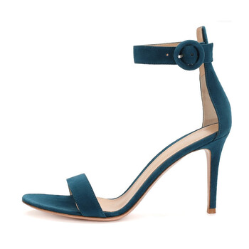 Giày Gianvito Rossi nữ 85 1-Band Suede Sandals In Green chính hãng