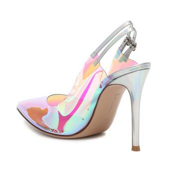 Giày Gianvito Rossi nữ Iridescent 105 PVC Slingback Pumps chính hãng