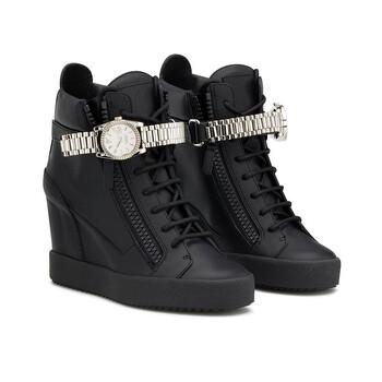 Giày Giuseppe Zanotti màu đen Watch Strap Wedge Sneakers chính hãng