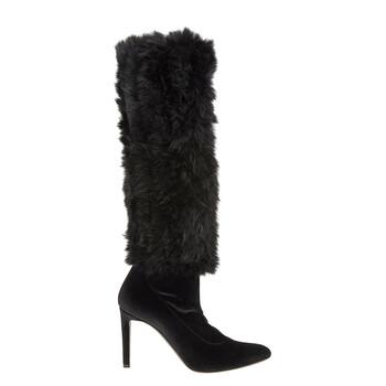 Giày Giuseppe Zanotti nữ màu đen 90 Knee Fur Leg Boots chính hãng sale giá rẻ