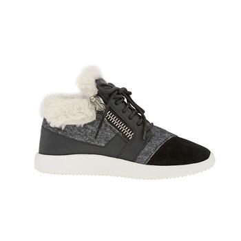Giày Giuseppe Zanotti nữ Gray Runer Felt Fur Sneakers chính hãng