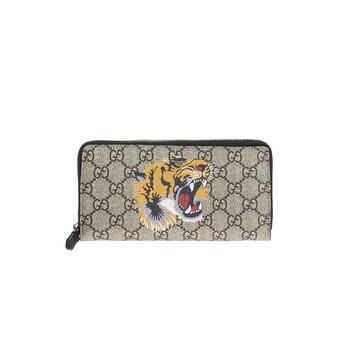 Gucci Bestiary Beige Nam Tiger Print Gg Supreme Zip Around Ví Chính hãng từ Mỹ
