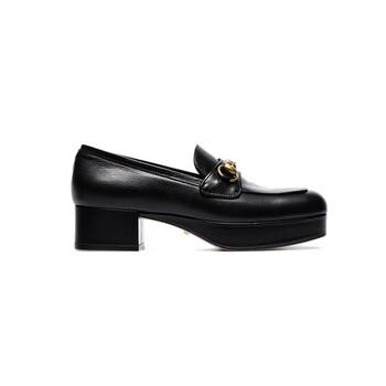 Giày Gucci màu đen Leather Platform Loafer chính hãng