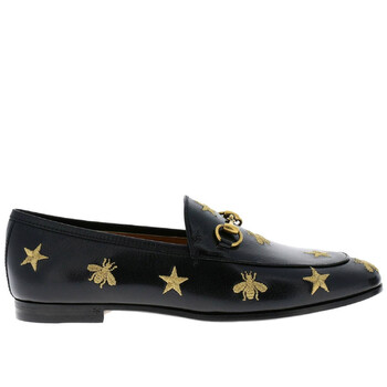gucci jordaan embroidered bee stars black leather loafers 505281 d3v00 1000