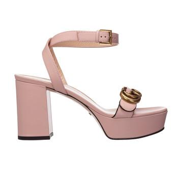Giày Gucci nữ Double G Platform Sandal màu hồng chính hãng