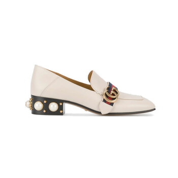 gucci ladies white leather mid heel loafers 423559 dkhc0 9061