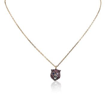 Trang sức Gucci Le Marche 18k Gold Ruby Cat Pendant Dây chuyền (vòng cổ) chính hãng sale giá rẻ Hà nội TPHCM