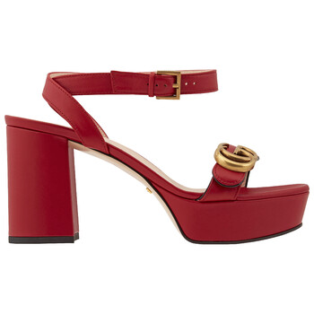 Giày Gucci màu đỏ Double G Platform Sandals chính hãng