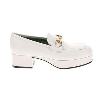 Giày Gucci màu trắng Leather Platform Loafer chính hãng