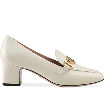 Giày Gucci màu trắng Zumi Block Heel Loafers chính hãng
