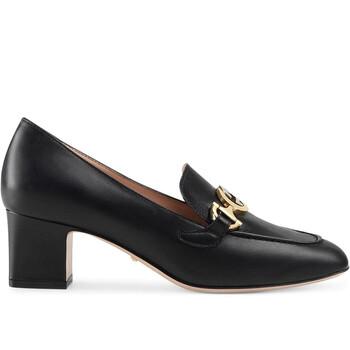 Giày Gucci Zumi nữ màu đen Leather Mid-heel Loafer chính hãng