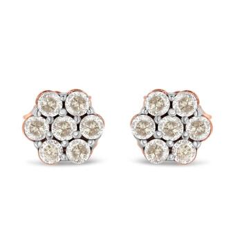 Trang sức Haus Of Brilliance Vàng hồng 10K 1/2ct TDW Kim cương Floral Stud Bông tai (khuyên tai