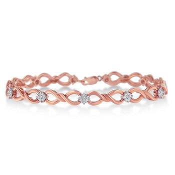 Trang sức Haus Of Brilliance 10K Rose mạ Bạc 925 1/2ct TDW Round Kim cương Link Vòng đeo tay(H-I