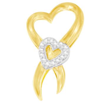Trang sức Haus Of Brilliance 10k Two-Tone Gold 1/10 ct TDW Kim cương Heart Pendant Dây chuyền (vòng cổ