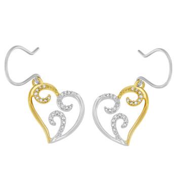 Trang sức Haus Of Brilliance 10k Two-tone Gold 1/4ct TDW Round Kim cương Heart Dangle Bông tai (khuyên tai