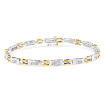 Trang sức Haus Of Brilliance 10K Two-Tone Gold 1 ct TDW Kim cương Link Vòng đeo tay (H-I