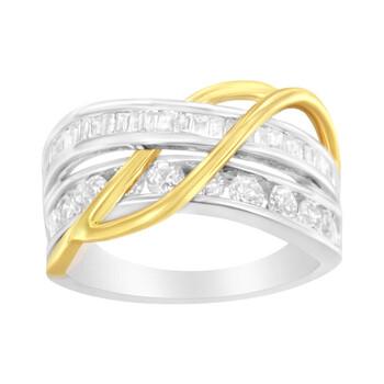 Trang sức Haus Of Brilliance 10K White và Yellow Gold 1 1/10 cttw Channel-Set Kim cương Bypass Band Nhẫn (J Color