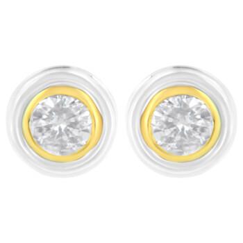 Trang sức Haus Of Brilliance 10K White và Yellow Gold 1/5ct TDW Kim cương Solitaire Bezel Earring (J-K