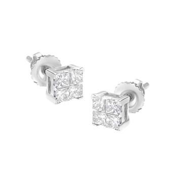 Trang sức Haus Of Brilliance Vàng trắng 10K 1/2 cttw Princess-cut Kim cương 4 Stone Composite Quad Stud Earring (H-I Color