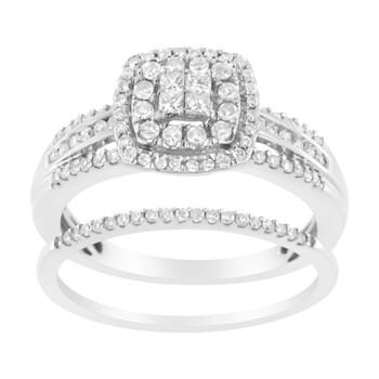 Trang sức Haus Of Brilliance Vàng trắng 10K 1/2 cttw Round và Princess-Cut Kim cương Nhẫn đính hôn và Band Set (H-I Color