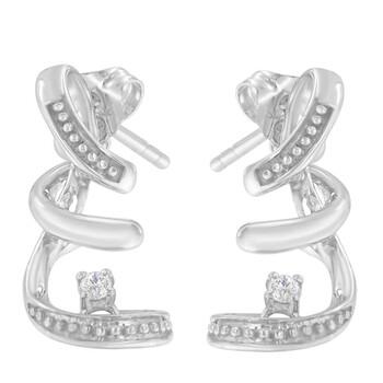 Trang sức Haus Of Brilliance Vàng trắng 10K 1/20ct TDW Round Cut Kim cương Bông tai (khuyên tai