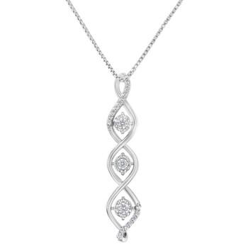Trang sức Haus Of Brilliance Vàng trắng 10K 1/2ct TDW 3 Stone Kim cương Drop Twisted Pendant Dây chuyền (vòng cổ