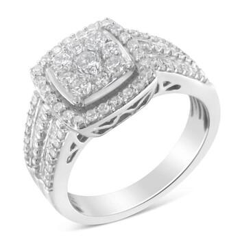 Trang sức Haus Of Brilliance Vàng trắng 10K 1ct TDW Kim cương Cluster Nhẫn (H-I