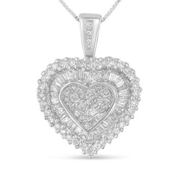 Trang sức Haus Of Brilliance Vàng trắng 10K 1ct TDW Multi-cut 1ct TDW Kim cương Heart Pendant Dây chuyền (vòng cổ