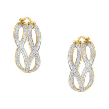 Trang sức Haus Of Brilliance 10K Yellow và Vàng trắng 1/4 ct TDW Kim cương Double Infinity Hoop Bông tai (khuyên tai