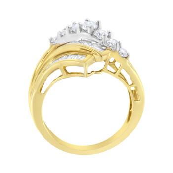 Trang sức Haus Of Brilliance 10K Yellow và Vàng trắng 1 Carat TDW Kim cương Bypass Nhẫn (H-I