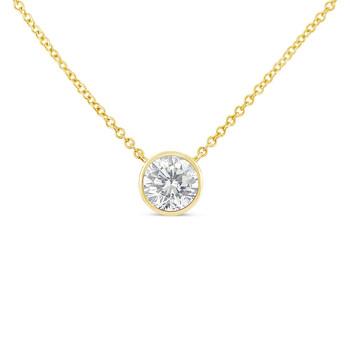 Trang sức Haus Of Brilliance Vàng 10K 1/3ct. TDW Bezel-Set Kim cương Solitaire Pendant Dây chuyền (vòng cổ)(H-I