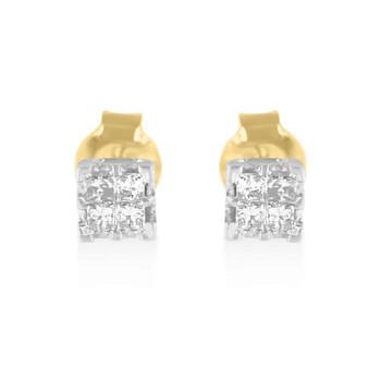 Trang sức Haus Of Brilliance Vàng 10K 1/4ct TDW Princess Kim cương Quad Stud Bông tai (khuyên tai