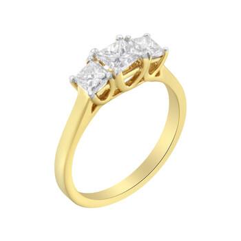 Trang sức Haus Of Brilliance Vàng 10K 1ct TDW Princess-Cut Kim cương Three Stone Band Nhẫn (J-K