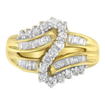 Trang sức Haus Of Brilliance Vàng 10K 1ct TDW Round và Baguette cut Kim cương Bypass Nhẫn (J-K