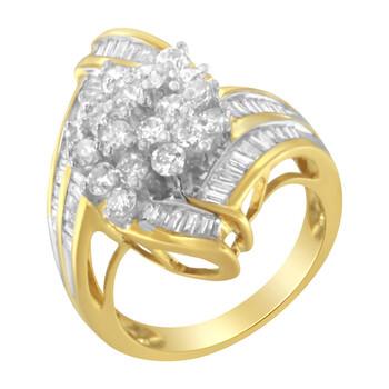 Trang sức Haus Of Brilliance Vàng 10K 2.00ct TDW Round và Baguette Kim cương Swirl Nhẫn (J-K