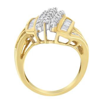 Trang sức Haus Of Brilliance Vàng 10K 2ct TDW Round và Baguette cut Kim cương Bypass Nhẫn (H-I