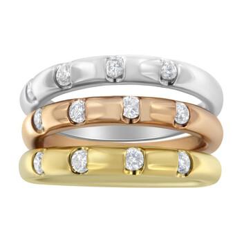 Trang sức Haus Of Brilliance 10kt Tri-Toned 3/4ct TDW Kim cương Nhẫn đính hôn Set. (H-I