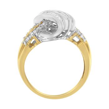 Trang sức Haus Of Brilliance 10kt Two-Toned 1/2ct TDW Round và Baguette cut Kim cương Bypass Nhẫn (I-J