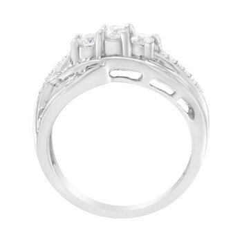 Trang sức Haus Of Brilliance 10kt Vàng trắng 0.92 Carat TDW Kim cương Modern Bypass Band Nhẫn (H-I