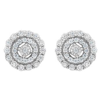 Trang sức Haus Of Brilliance 10kt Vàng trắng 1/2 cttw Double Halo Brilliant Round-Cut Kim cương Stud Bông tai (khuyên tai