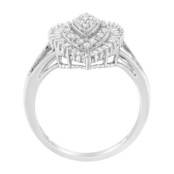 Trang sức Haus Of Brilliance 10kt Vàng trắng 1/4ct TDW Round và Baguette cut Kim cương Nhẫn (H-I