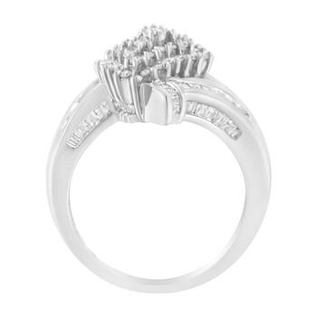 Trang sức Haus Of Brilliance 10kt Vàng trắng 1ct TDW Kim cương Crossover Cluster Nhẫn (I-J