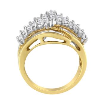 Trang sức Haus Of Brilliance 10kt Yellow Gold 1 1/2ct TDW Round và Baguette cut Kim cương Nhẫn (H-I