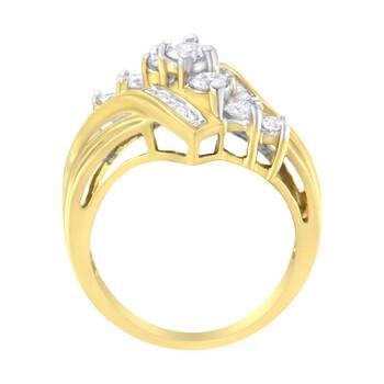 Trang sức Haus Of Brilliance 10kt Yellow Gold 1 ct TDW Kim cương Bypass Nhẫn (H-I