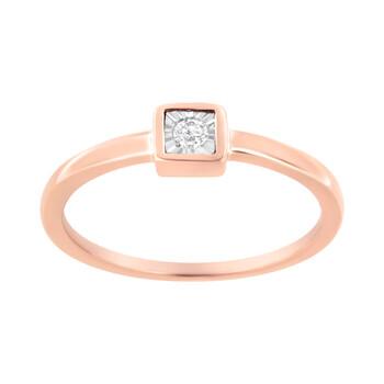 Trang sức Haus Of Brilliance Vàng hồng 14K mạ Bạc 925 1/20 cttw Miracle Set Kim cương Promise Nhẫn (J-K Color