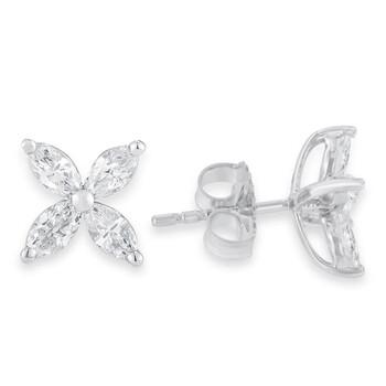 Trang sức Haus Of Brilliance Vàng trắng 14K 1.0 Cttw Marquise Kim cương 8 Stone Floral Leaf Stud Bông tai (khuyên tai