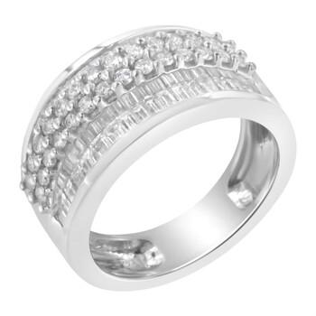 Trang sức Haus Of Brilliance Vàng trắng 14K 1 1/2ct TDW Round và Baguette Kim cương Nhẫn (F-G