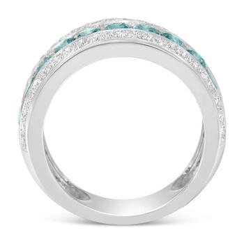 Trang sức Haus Of Brilliance Vàng trắng 14K 1 1/2ct TDW Treated Blue Round Kim cương Modern Band Nhẫn(H-I